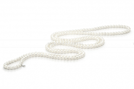 Бусы из белого круглого речного жемчуга 6-6,5 мм. Артикул 7738