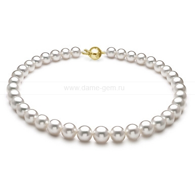 Ожерелье из белого морского Австралийского жемчуга 8,1-10,1 мм. Артикул 7741