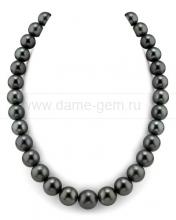Ожерелье из черного круглого морского Таитянского жемчуга 11-13,2 мм. Артикул 7742