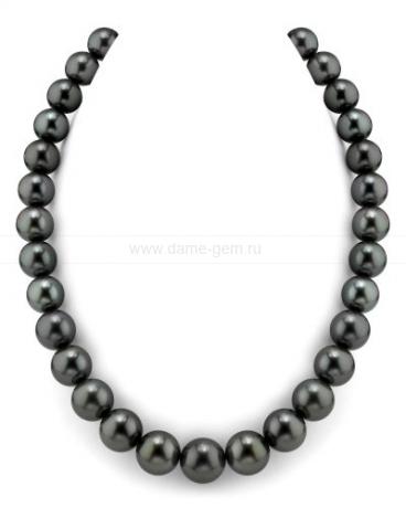 Колье (ожерелье) из черного Таитянского морского жемчуга. Артикул 7742