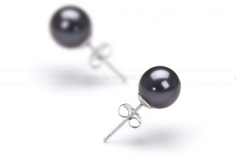 Пусеты из серебра с черными жемчужинами 7,5-8 мм. Артикул 7777