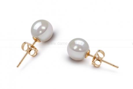 Пусеты из серебра с белыми жемчужинами 6,5-7 мм. Артикул 7783