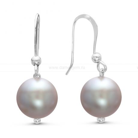 Серьги серебряные c серыми жемчужинами. Артикул 7792
