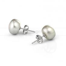 Пусеты из серебра с серым речным жемчугом 9-9,5 мм. Артикул 7809