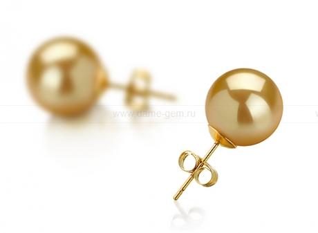 Пусеты из серебра с золотистыми Австралийскими жемчужинами 10-10,5 мм. Артикул 7818