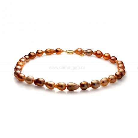 Ожерелье из шоколадного барочного речного жемчуга 11-12 мм. Артикул 8284