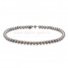 Колье (ожерелье) из серого речного жемчуга 6,5-7 мм. Артикул 8285