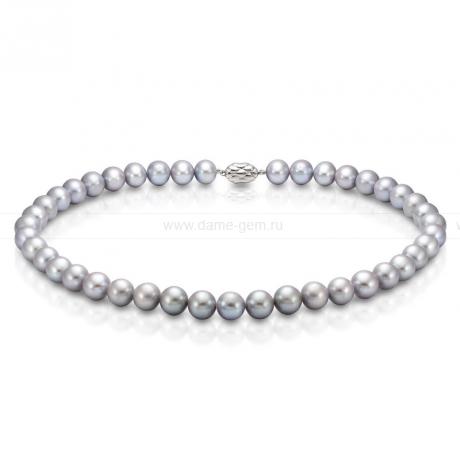 Колье (ожерелье) из серого круглого речного жемчуга 8,5-9,5 мм. Артикул 8286