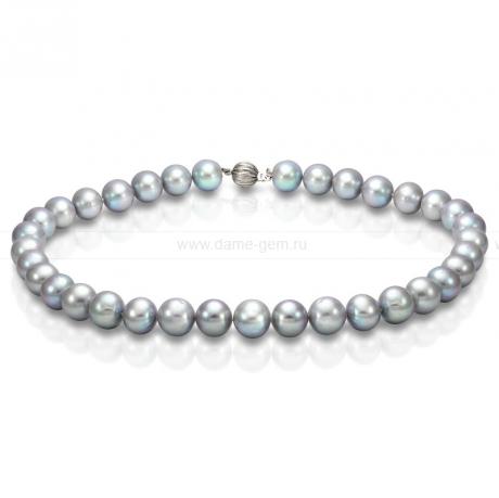 Колье (ожерелье) из серого речного жемчуга 11,5-12 мм. Артикул 8287