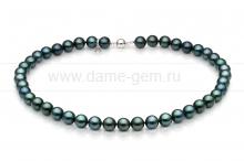Колье (ожерелье) из черного морского жемчуга Акойя (Япония) 8,5-9 мм. Артикул 8291