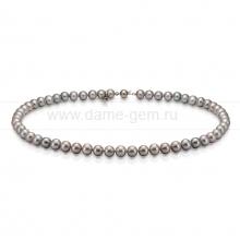 Колье (ожерелье) из серого речного жемчуга. Артикул 8302