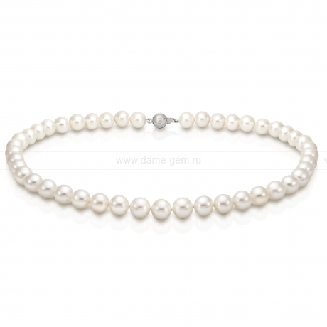 Ожерелье из белого круглого речного жемчуга 8-8,5 мм. Артикул 8303