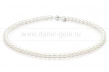 Колье (ожерелье) из белого морского жемчуга Акойя 6-6,5 мм. Артикул 8304