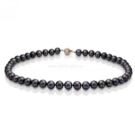 Ожерелье из черного круглого речного жемчуга 8,5-9,5 мм. Артикул 8307