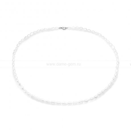 Ожерелье из белого барочного речного жемчуга 4-5 мм. Артикул 8312
