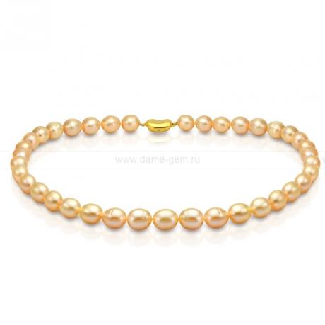 Ожерелье из персикового рисообразного жемчуга 10-11 мм. Артикул 8391