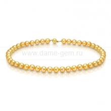 Ожерелье из золотистого морского жемчуга Акойя (Япония) 8,5-9 мм. Артикул 8392