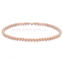 Ожерелье из персикового круглого речного жемчуга 6,5-7 мм. Артикул 8397