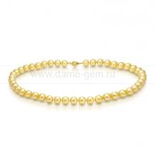 Ожерелье из золотистого морского жемчуга Акойя (Япония) 8-8,5 мм. Артикул 8401