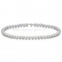 Ожерелье из серебристого морского жемчуга Акойя (Япония) 8-8,5 мм. Артикул 8407
