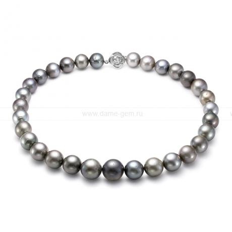 Ожерелье из серебристого Таитянского морского жемчуга 12-15,1 мм. Артикул 8415