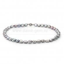 Ожерелье из серого барочного речного жемчуга 6,5-7 мм. Артикул 8420