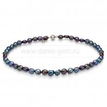 Ожерелье из черного барочного речного жемчуга 9-10 мм. Артикул 8424