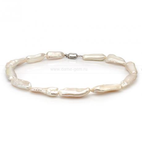 Колье (ожерелье) из белого барочного жемчуга 11-15 мм. Артикул 8425