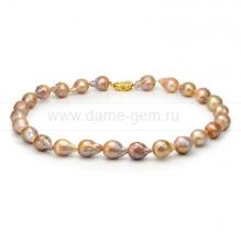 """Колье (ожерелье) """"микс"""" из розового барочного жемчуга 11-12 мм. Артикул 8428"""