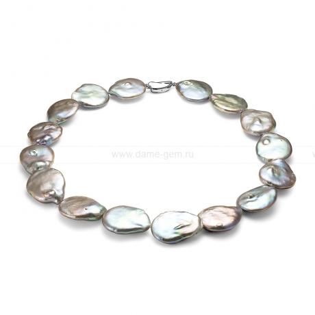 Колье (ожерелье) из серого барочного жемчуга 22-26 мм. Артикул 8439