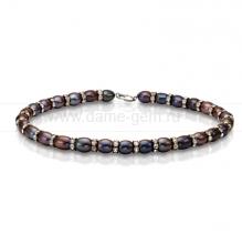 Ожерелье со стразами из черного рисообразного речного жемчуга 8,5-9,5 мм. Артикул 8450