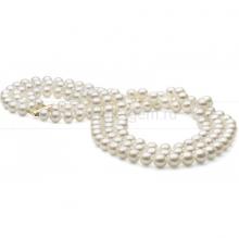 Ожерелье в 3 ряда из белого круглого речного жемчуга 7-7,5 мм. Артикул 8455