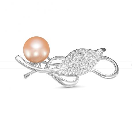 Брошь из серебра с розовой жемчужиной 9,5-10 мм. Артикул 8478