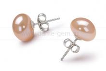 Пусеты из серебра с розовыми жемчужинами 11,5-12 мм. Артикул 8523