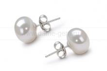 Пусеты из серебра с белыми жемчужинами 9,5-10 мм. Артикул 8526