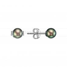 Пусеты из серебра с черными круглыми жемчужинами 5-5,5 мм. Артикул 8528