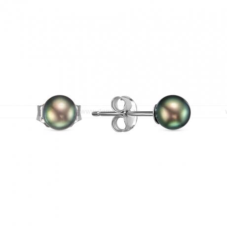 Пусеты из серебра с черными жемчужинами 5-5,5 мм. Артикул 8528
