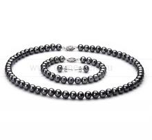 Комплект из черного круглого речного жемчуга 7,5-8 мм. Артикул 8577