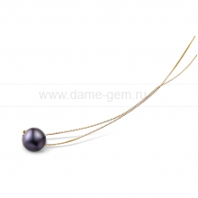 Цепочка из серебра с черной речной жемчужиной 9,5-10 мм. Артикул 8587