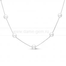Цепочка из серебра с белыми речными жемчужинами 7-7,5 мм. Артикул 8589