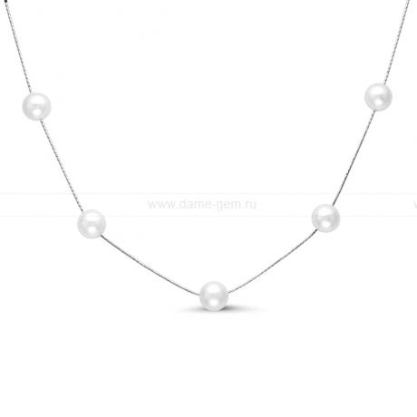 Цепочка из серебра с белыми жемчужинами. Артикул 8589