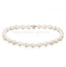 Ожерелье из белого круглого речного жемчуга 5-10 мм. Артикул 8668