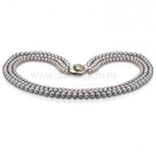 Ожерелье в 3 ряда из серого круглого речного жемчуга 7-10 мм. Артикул 8669
