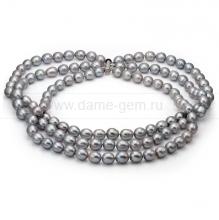 Ожерелье в 3 ряда из серого рисообразного речного жемчуга 10-11 мм. Артикул 8670