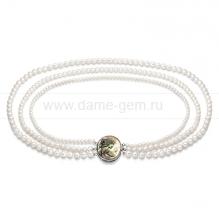 Ожерелье в 3 ряда из белого круглого речного жемчуга 6-9,5 мм. Артикул 8671