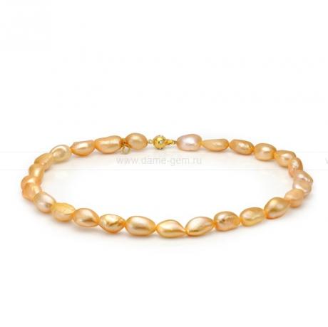 Ожерелье из золотистого барочного речного жемчуга 10-11 мм. Артикул 8674