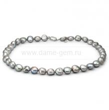 Колье (ожерелье) из серого барочного жемчуга 12-13 мм. Артикул 8676