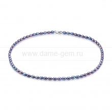 Ожерелье из черного рисообразного речного жемчуга 5-6 мм. Артикул 8677
