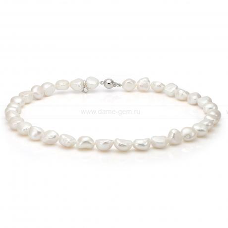 Ожерелье из белого барочного речного жемчуга 8-8,5 мм. Артикул 8682
