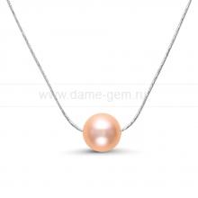 Цепочка из серебра с розовой речной жемчужиной 9-9,5 мм. Артикул 8698